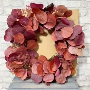Threshold Burgundy Faux Floral Dried Leaves Wreath